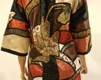 Vintage patchwork satin embroidered kimono jacket