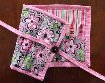 Flower Crayon Roll Up, Crayon Holder, Girl Crayon Tote, Pink Crayon Holder, Pink Gray Green, Art Supplies, Crafts, Quilted Crayon Roll