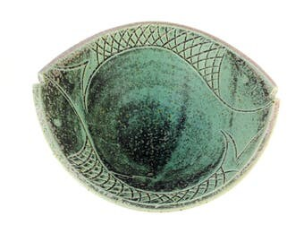 Handmade pottery fish serving bowl copper green