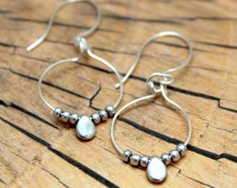 Silver beaded hoop earrings, Small hoop earrings, Dainty silver jewellery, Minimalist silver earrings, Handcrafted jewellery, Gift for her