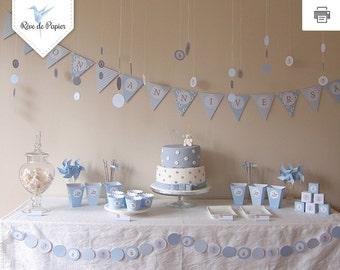 First birthday blue bear theme party printable Kit