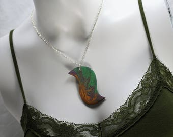 Unique Hand-painted Necklace and Earring Set