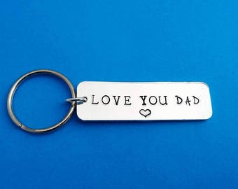 love you Dad, gift for dad, dad gift, father's day, dad keychain, gifts for dad, father of the bride, father gift, father, hand stamped