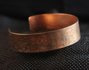 Etched Copper Cuff Bracelet (040917-017)