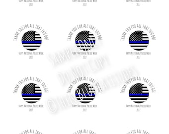 Instant Download, Police Week, Police, Appreciation, Printable, Thin Blue Line, Gift Tags, Labels, Stickers, Cupcake Toppers, Digital File