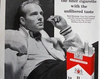 1962 Marlboro ad.  Marlboro with Paul Hornung.  Paul Hornung 1961 NFL Player of the Year.  Life Magazine.  October 19, 1962.