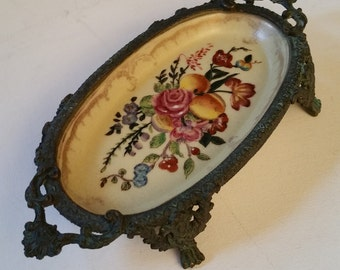 Chinese porcelain and metal footed tray, flower design