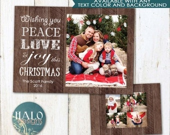 Christmas Cards - Peace Love Joy this Christmas, rustic wood