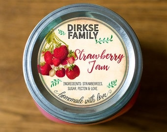 Customized Label - Strawberry Jam, Jelly, Preserves, Canning Jar Label - Wide Mouth & Regular Mouth - Vintage - All Text is Customizable