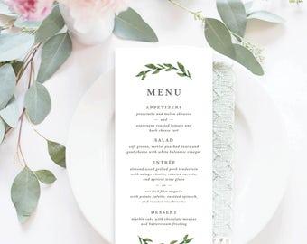 Printable Wedding Menu Card | Menu card, Greenery, Leaf, Wedding Menu