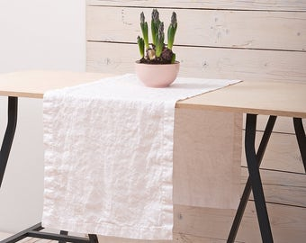 Linen Table Runner - Optic white Table Runner - Stone Washed Softened Linen - Handmade Linen Table Runners -  Natural Flax - Rustic Wedding