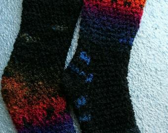 Rainbow Variegated Fuzzy Socks