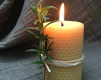 Organic handrolled beeswax candle