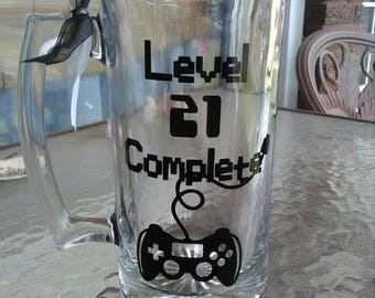 Level 21 Complete Beer Mug,  guys 21st birthday, finally 21, men's birthday mug, gamers birthday beer mug