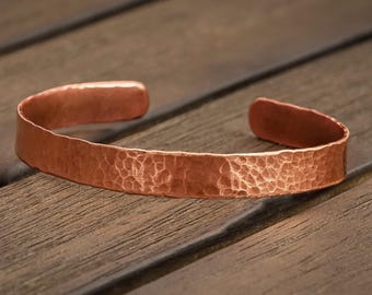 Stackable Copper Bracelet, Women's Hammered Copper Cuff, Teen Girl Gift, Gift under 20, Gift for her, Gift for mom, Copper Jewelry
