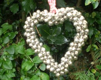 Danish Romantic Jingling Bells Heart on Gingham Ribbon,Wall hanging 0r Window