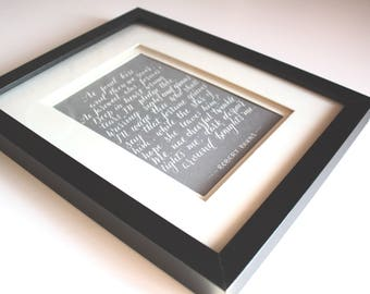 A4 | Personalised wedding vows / lyrics / poem handwritten in white calligraphy ink on grey or black card