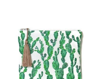 Small zipped Pocket made in France, cotton and linen print cactus, Pompom mocca