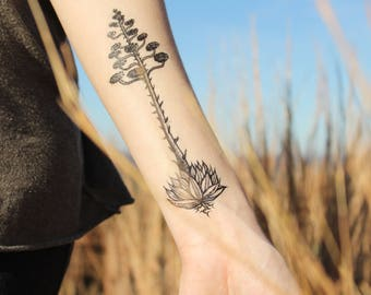Agave Blooming Temporary Tattoo, Century Plant, Desert Succulent Plants, Black Line Drawing, Nature Tattoo