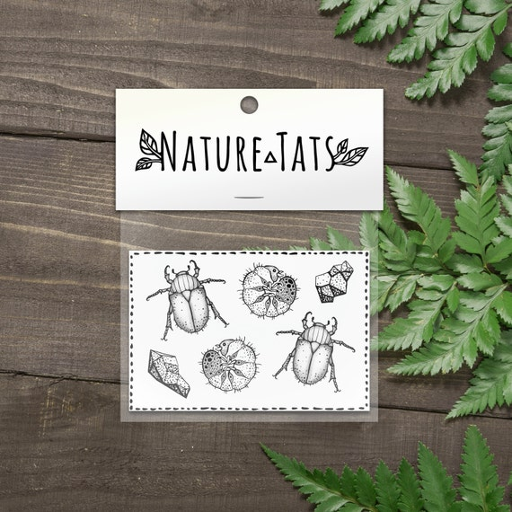 June Bug Beetles, Larvae & Stones Temporary Tattoos, Collection of 6, Black Ink Bug Tattoo, Larva, Insect Cycle, Nature Tattoo
