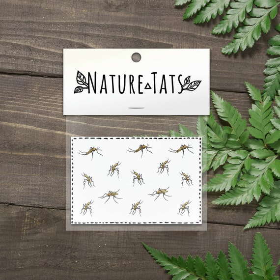 Mosquitoes Temporary Tattoos, Collection of 13, Life Size, Insect Tattoo, Bug Tattoo, Creepy Bug Tattoo, Nature Tattoo