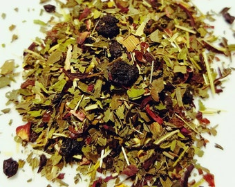 Nevermind the Meh - Certified Organic, Herbal Blend, Uplifting, Mood Lift, Loose Leaf Tea Blend, Nettle, Spearmint, Cranberry, Hibiscus