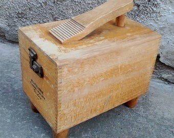 Vintage Wooden Shoe Shine Box, Esquire Shoe Valet Deluxe, Shoe Groomer Box, Vintage item from Yugoslavia