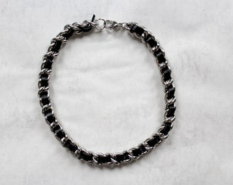 Coco Choker - Leather & Stainless Steel, curb chain
