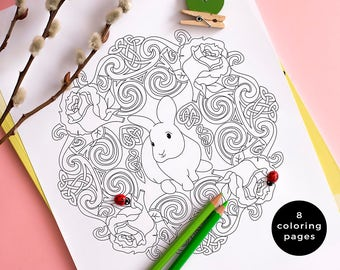 Spring Coloring Pages, Spring Mandalas, Flower Mandala, Bunny Coloring Template, Flower Coloring Page, Set of 8 Printable Coloring Pages PDF