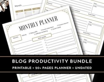 Blog Planner, Blog Organizer, Printable Blog Planner Inserts, Blog Productivity Planner, Business Planner, A4 PDF Planner 20+ pages
