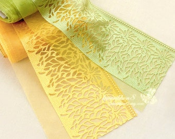2 yards, Yellow Green Lace Trim Tulle Lace Embroidery Trees Lace - width 18cm 7 inches