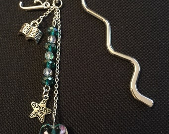 Initial bookmark with lampwork charm, crystal beads and additional charms