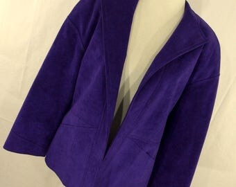 Vintage 70s Samuel Robert by Peter Hatsi Androu Jacket Faux Leather Suede Purple Open Front Womens Size 10