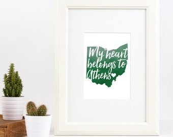 My Heart Belongs to Athens Ohio Wall Art Frameable Print