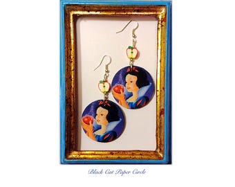 Snow White handmade earrings handmade decoupage earrings baby