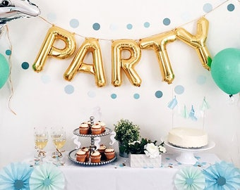 "Party Letter Balloons | 16"" Gold Letter Balloons 