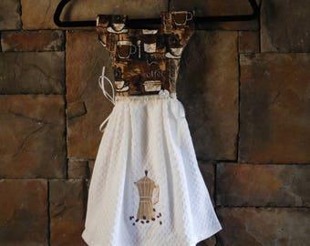 Coffee Oven Door Towel Dress, Embroidered