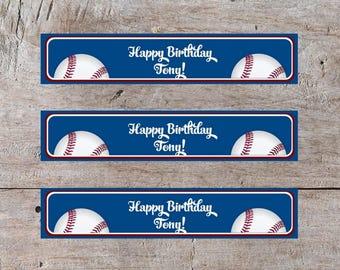 Editable Birthday Water Bottle Label, Baseball Label, Baseball Water Bottle Label, Editable Water Bottle Label, Customizable Label