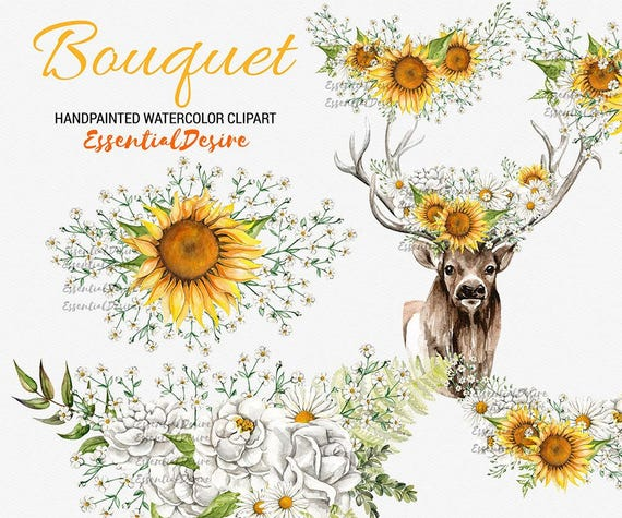 Sunflowers Bouquet Clipart Floral Deer Antlers Rustic Wedding Flowers Gypsophila Orange White Crown Bouquets