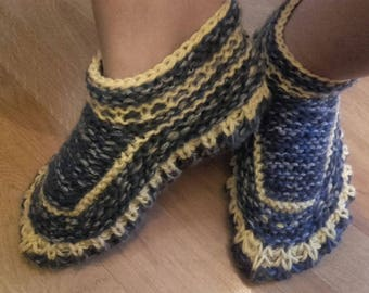 Gray- yellow hand knit socks,mohair and sheep wool thick bed socks, durable bed slippers.Bed slippers, Thick wool bed socks.