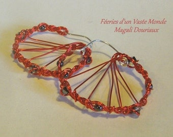 Earrings Creole red copper braid