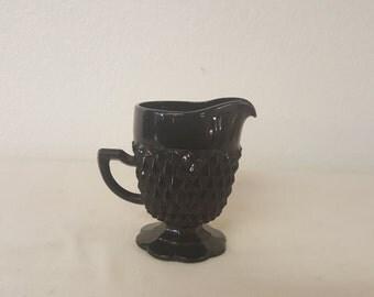 Vintage Black Tiara Glass Creamer, vintage creamer, collector creamer, Tiara creamer, vintage kitchen, vintage home decor, Black Tiara glass