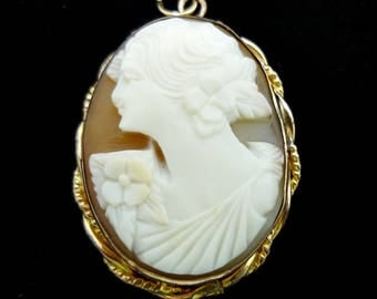 Antique Hand Carved Shell Cameo 10KT Gold Filled Pendant, Cameo Pendant, Shell Cameo Pendant, Estate Jewelry, Cameo Jewelry, Victorian Cameo