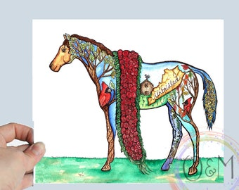 Watercolor Horse Painting, Kentucky Derby Horse Art Print, Kentucky Horse Print, Unique Gift, Kentucky Gift, Horse Artwork, Horse Gifts
