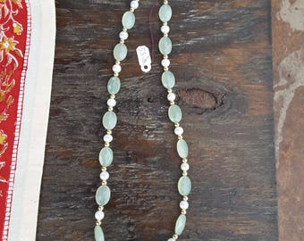 Faceted Serpentine Jade Necklace Fresh Water Pearls Gold Plated Beads and Clasp