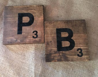 Handmade Wall Wood Scrabble Tiles