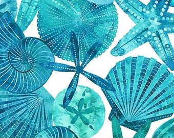 Northcott - Ocean Tides - Shells - Blue/Teal - 21513-42 - Fabric by the Yard