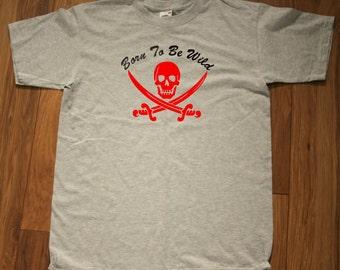 "T-shirt with ""Born to be wild"" Skull & swords  logo"