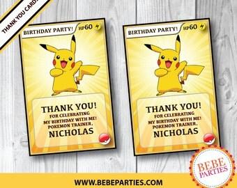 DIGITAL Pokémon Pikachu Thank You Cards   Personalized with Birthday Child's Name   Printable DIGITAL File