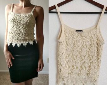 90's White Lace Crochet Tank Top Size XS-SM// Women's Vintage Floral Bohemian Lace Festival Crop Top//